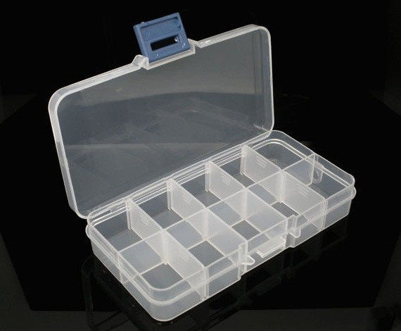 Music-S  10 Grids Plastic Plectrum Case Storage Box Adjustable Grid Size Keep Your Guitar Picks and Other Small Things