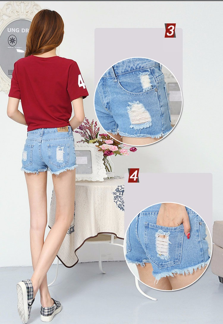 Fashion women Korean summer denim shorts sexy punk rivet hole mini jeans shorts soft bottom plus size female blue shorts A160 F
