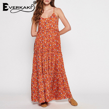 Everkaki Women Boho Long Dress With Ruffles Beach Gypsy Maxi Dress Bohemian Red Floral Printed Pattern Dress For Women Autumn