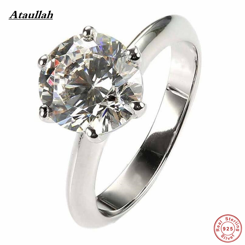 Ataullah Gold Plated 925 Sterling Silver SONA/NSCD Men Made Diamond Rings for Women Wedding Women Silver Ring Jewelry RWD883 0 5ct 925 sterling silver ring synthetic sona nscd diamond ring 18k white gold plated ring love letter engrave ring yd