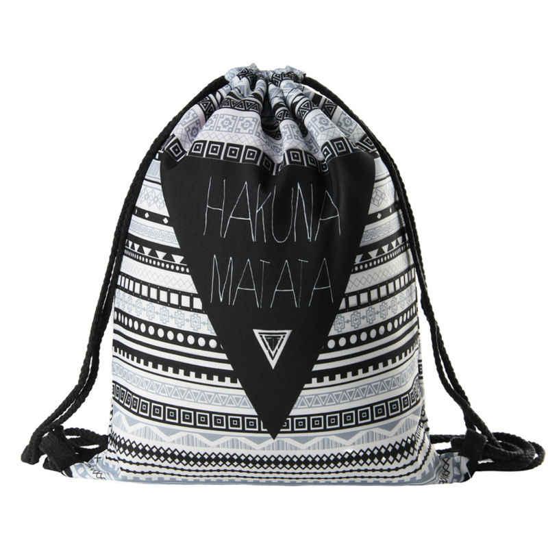 Hakuna matata женский рюкзак с геометрическим рисунком 3D печать путешествия softback женская сумка со шнурком сумка мужские рюкзаки