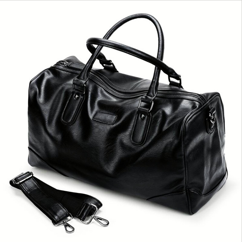 Black PU Fitness Sport Bag For Male High-grade Soft Leather Travel Handbag Waterproof Football Basketball Training Shouler Bags