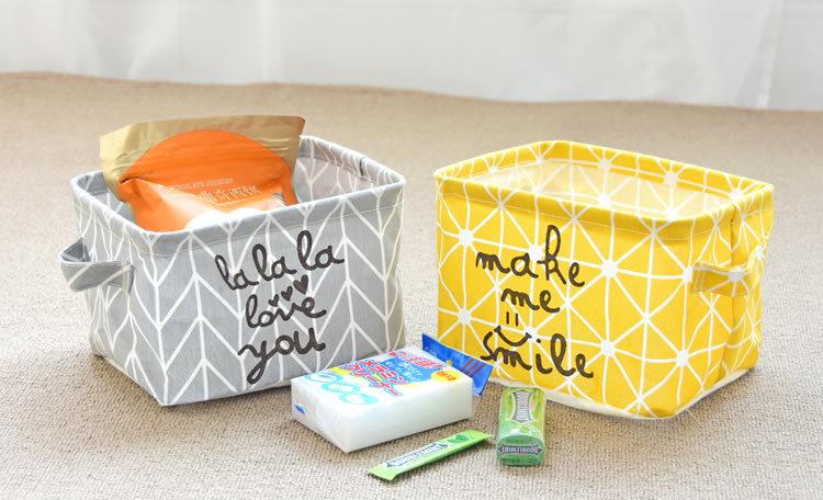 Cotton Fabric Desktop Storage Box Office Desk Stationery Storage Sundries Storage Basket Cartoon Folding Basket 20x16