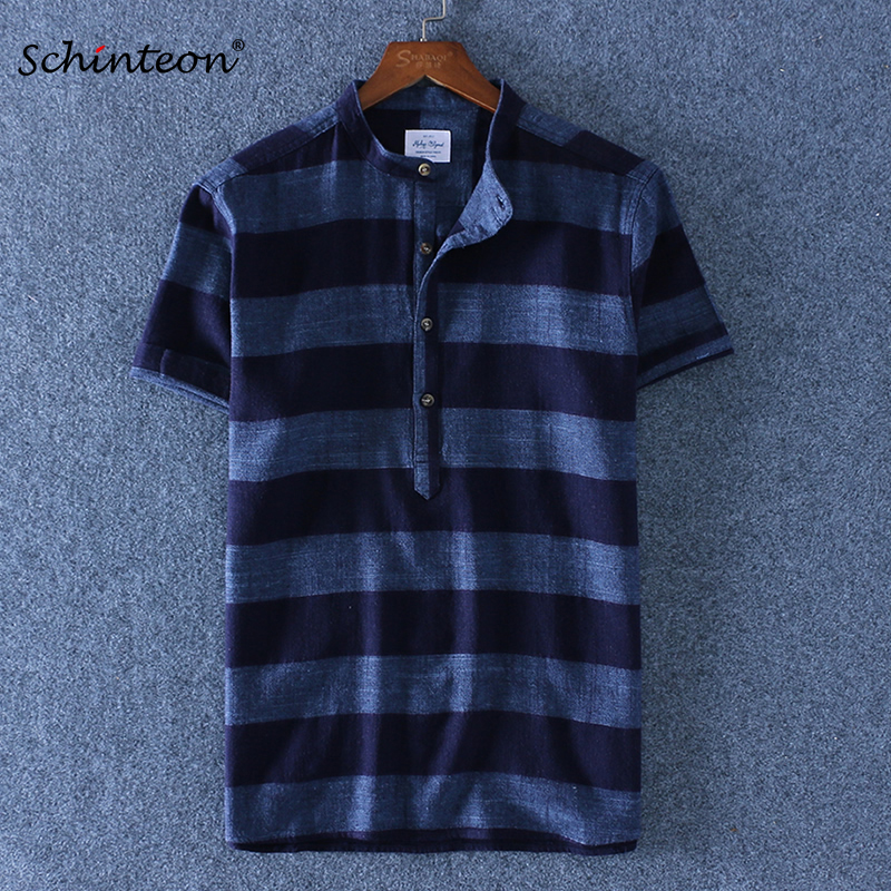 Schinteon New Linen Cotton <font><b>Striped</b></font> Summer Casual <font><b>Shirt</b></font> <font><b>Men</b></font> Breathable Stand Collar <font><b>Short</b></font> <font><b>Sleeves</b></font> Brand <font><b>Shirts</b></font> Pullover image