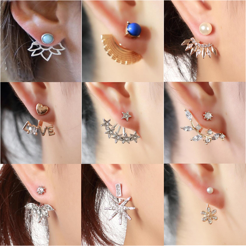 Double Cycle Stud Jacket Earrings with Round Simulated White Pearls for Women Girls Piercing Earrings