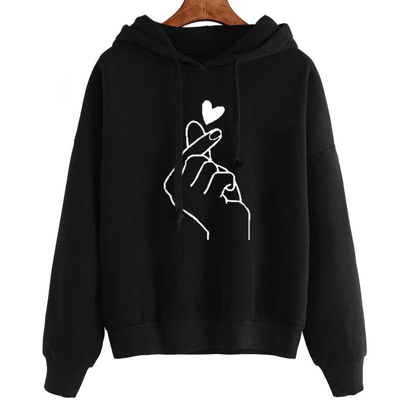 Harajuku Women's Sweatshirt and Hoody Ladies Oversize K Pop Tracksuit Pink Love Heart Finger Hood Casual Hoodies for Women Girls 13