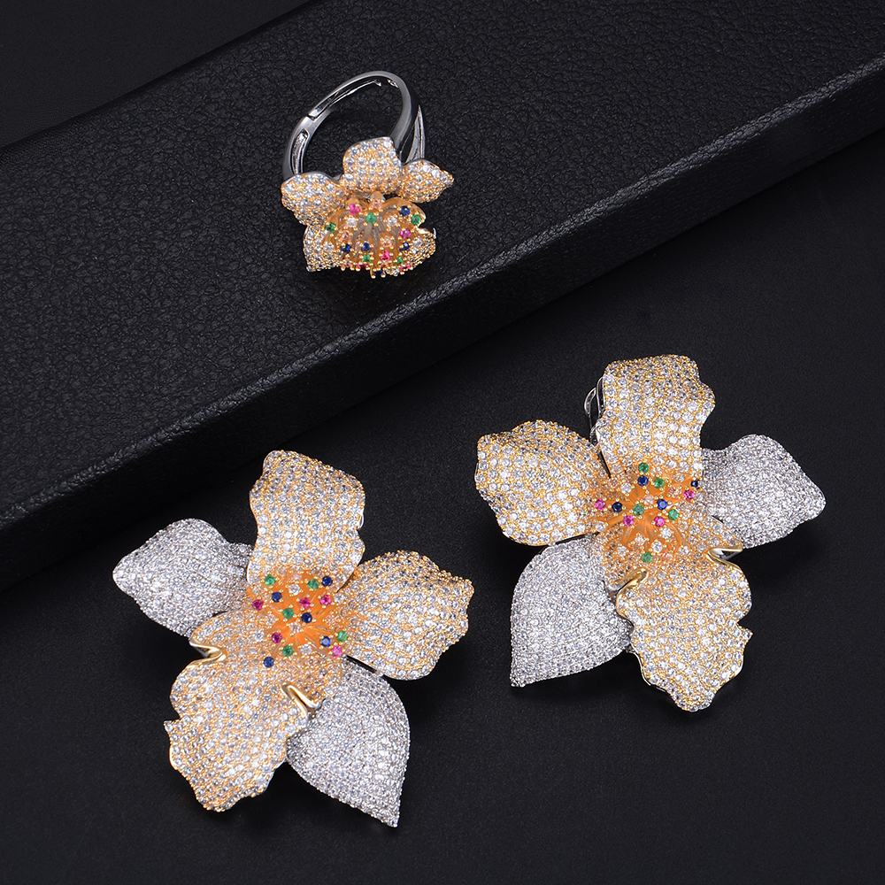Fashion Big Flower Shape Three Tones Hollow Earrings and Ring Jewelry Set For Women Wedding Engagement цены онлайн