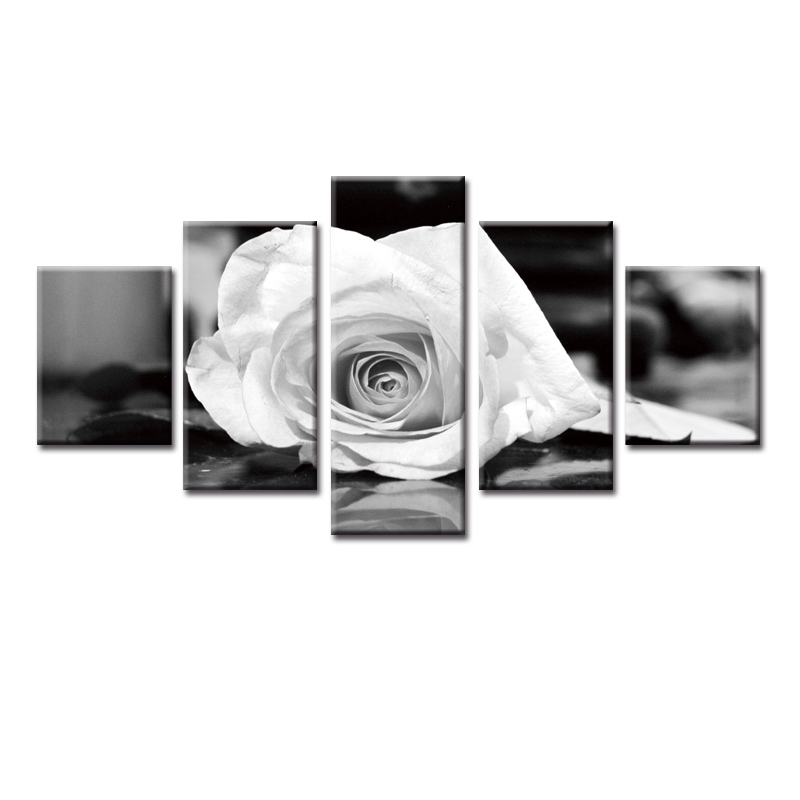 Hot Sales life black and white rose 5 piece large canvas print wall art on decoration oil paint decorative pictures