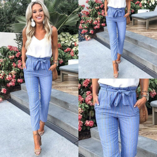 New Fashion Hot Sale Women's Blue Striped High-waist Lace-up Ankle-length Slim Pants Office Lady Summer Casual Clothing S-XL