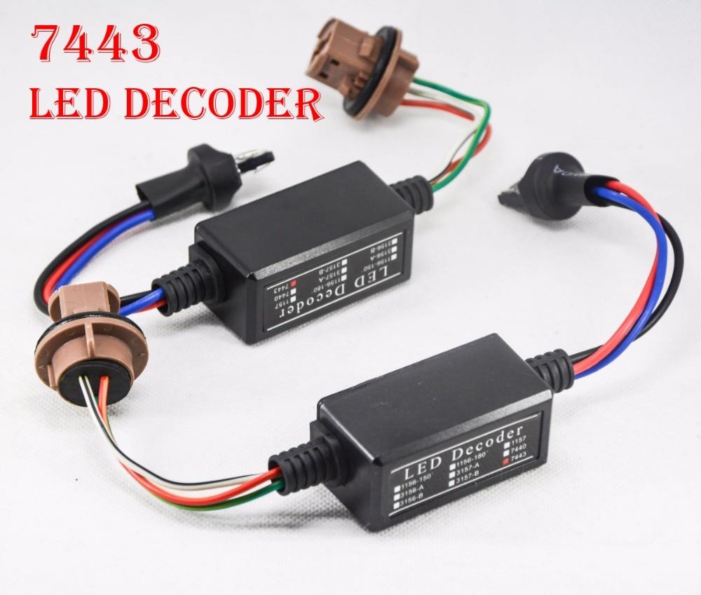 2PCS 7443 1157 LED Bulb Power 8W Error Free Canbus Canceler Adapter Decoder Fog Turn Brake Signal Anti-Hyper Flashing Blinking