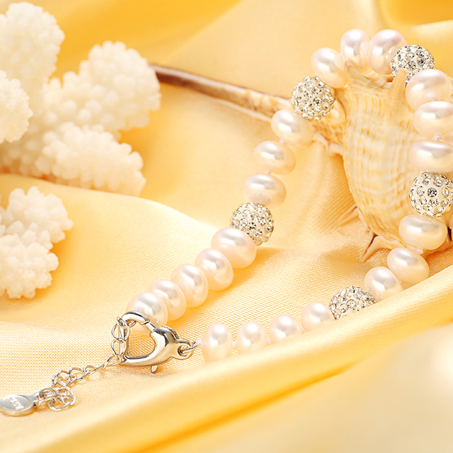 Dainashi naturais de água doce pulseiras de pérolas para As Mulheres branco/rosa/roxo/cor misturada pérola jóias charme pulseiras hot venda