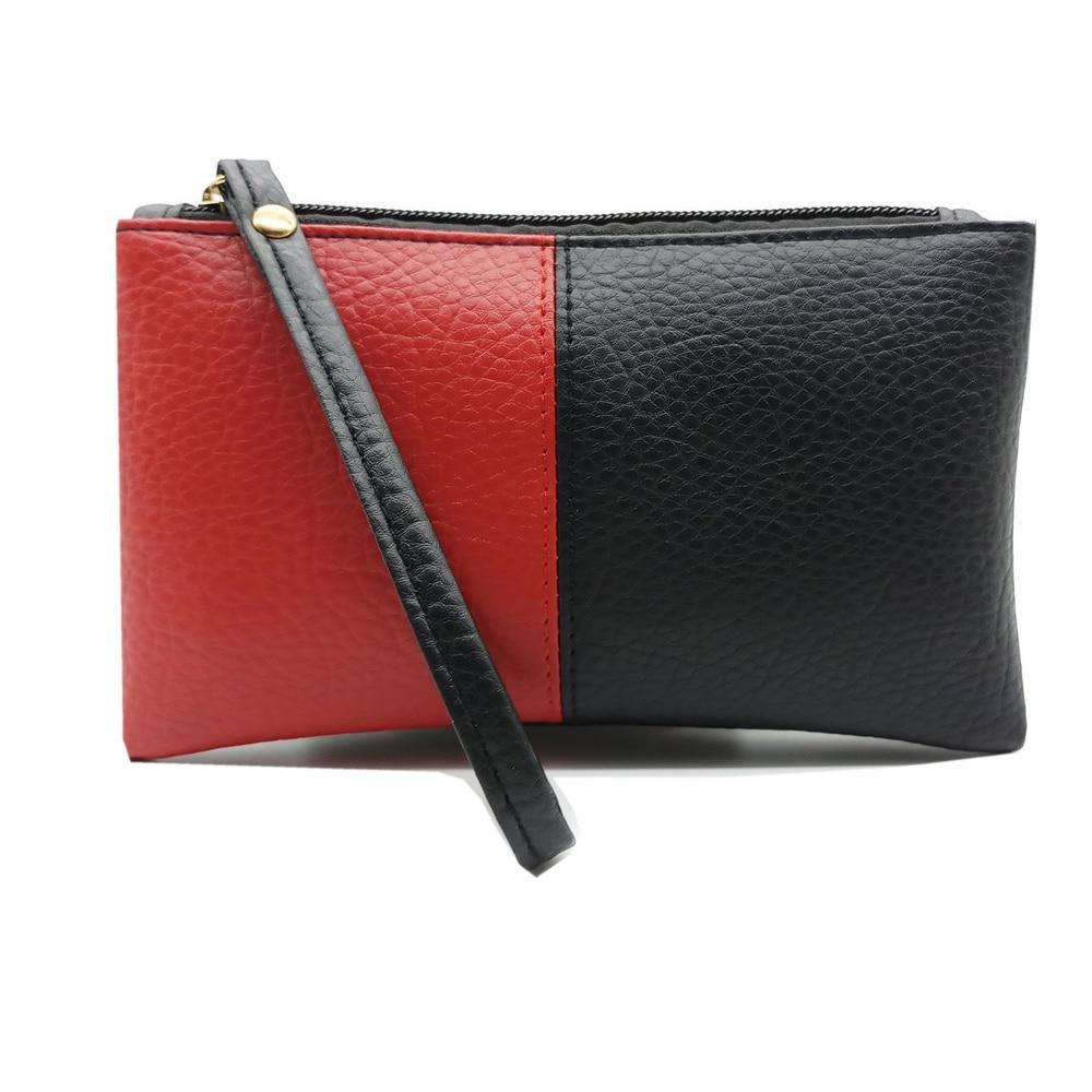 2018 Hit Color Black & Red Men Women Wallets PU Leather Bag Zipper Clutch Coin Purse Phone Wristlet Portable Long Handbag