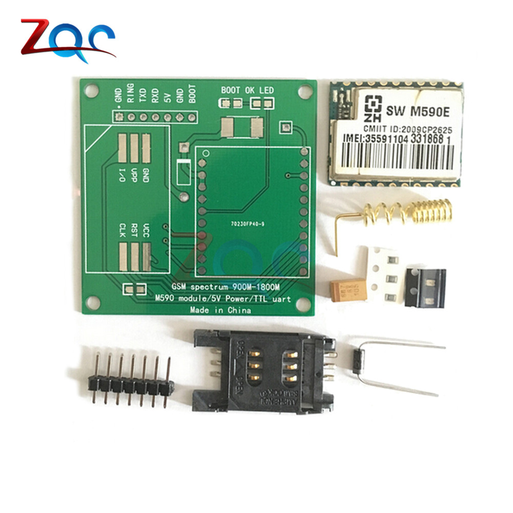 M590E GSM GPRS Module 900m-1800m SMS Message Diy kits M590 Standard AT Instruction Set CPU MCU Test 5V 50mm*50mm