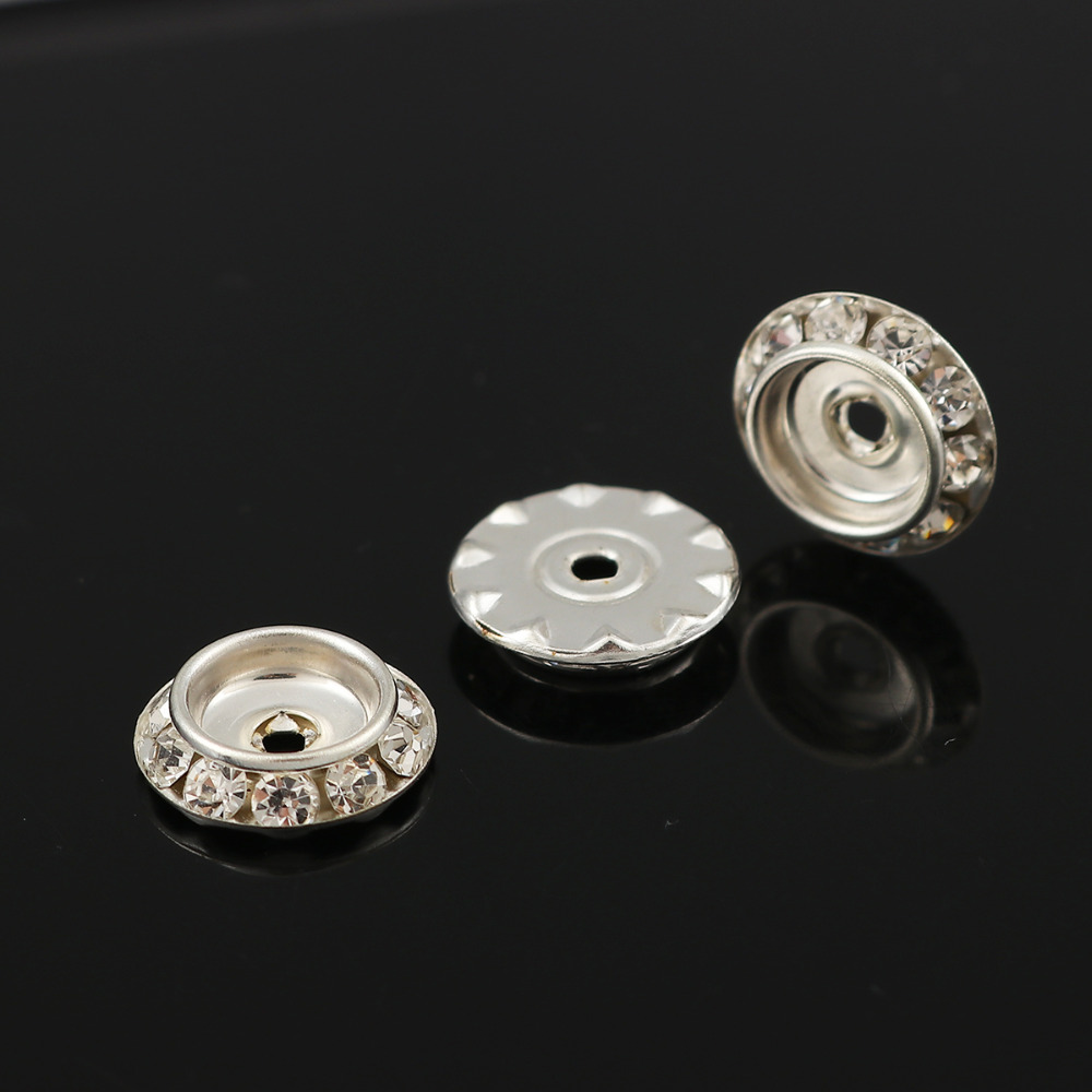 Dia Hole: Approx 1.9mm 50 Pcs 4/8 Iron Based Alloy Rondelle Spacer Beads Round Silver Plated Clear Rhinestone About 13mm