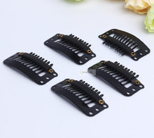 50pcs Black hair snap clips for extensions U Shape weave toupee wig 9 teeth clips styling tools(China)