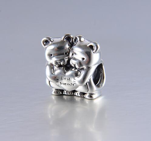 100 925 Sterling Silver Two Cute Love Bear Charm Beads Fits Pandora Style Bracelets