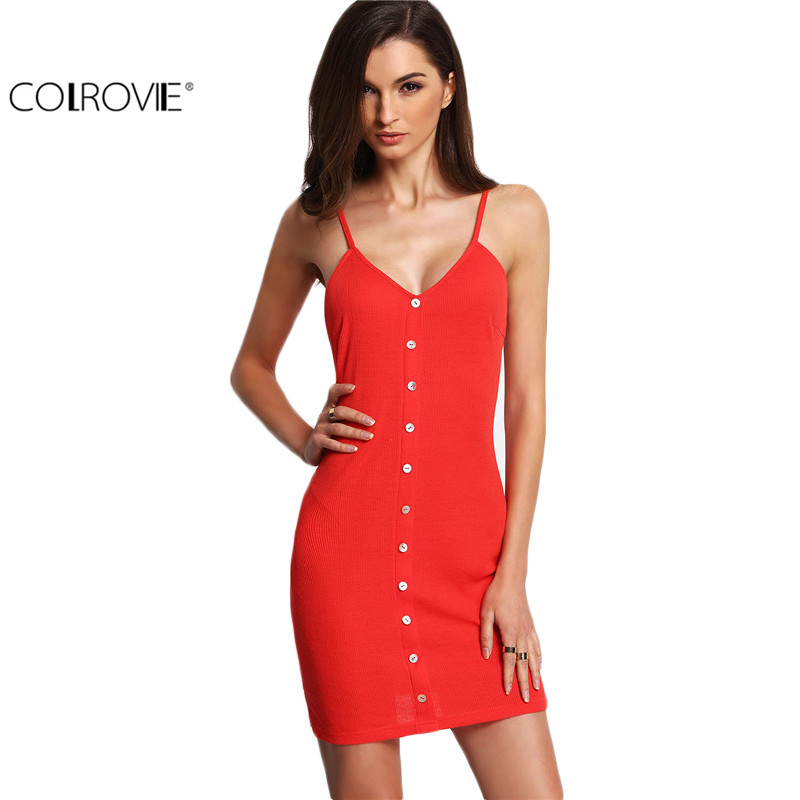 COLROVIE New Arrival Summer Womens Fitted Korean Clothes Fashion Watermelon Red Buttons Front Ribbed Spaghetti Strap Mini Dress