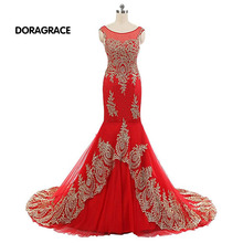 Real Photos Romantic Applique Beaded Mermaid Designer Evening Dresses Formal For Women DGE040