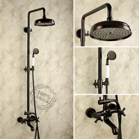 Black Antique Brass Bathroom White Handle Double Switch Bath&Shower Faucet Set Hot & Cold Mixer Tap Bar Handheld Spray