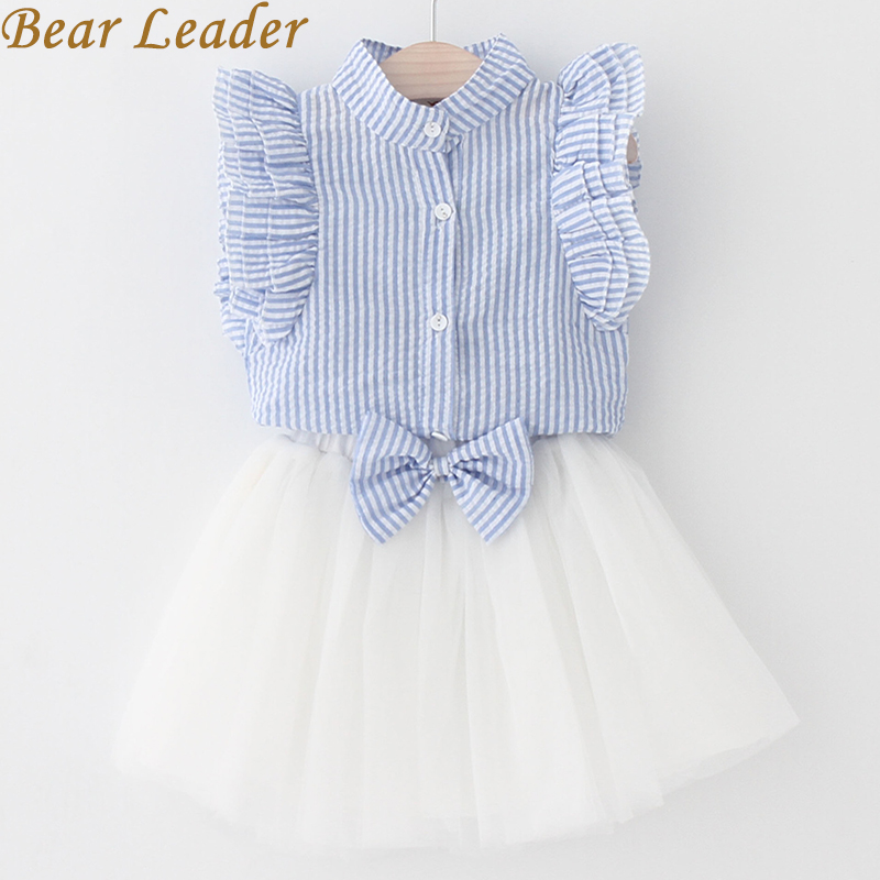 Bear Leader Girls Dress 2018 Summer Style Girls Clothing Sets Butterfly Sleeve Striped T-shirt+Bow Short Skirt 2Pcs Girls Suits 2017 summer style girls clothing sets fashion cotton print short sleeve t shirt and denim shorts girls clothes casual suits