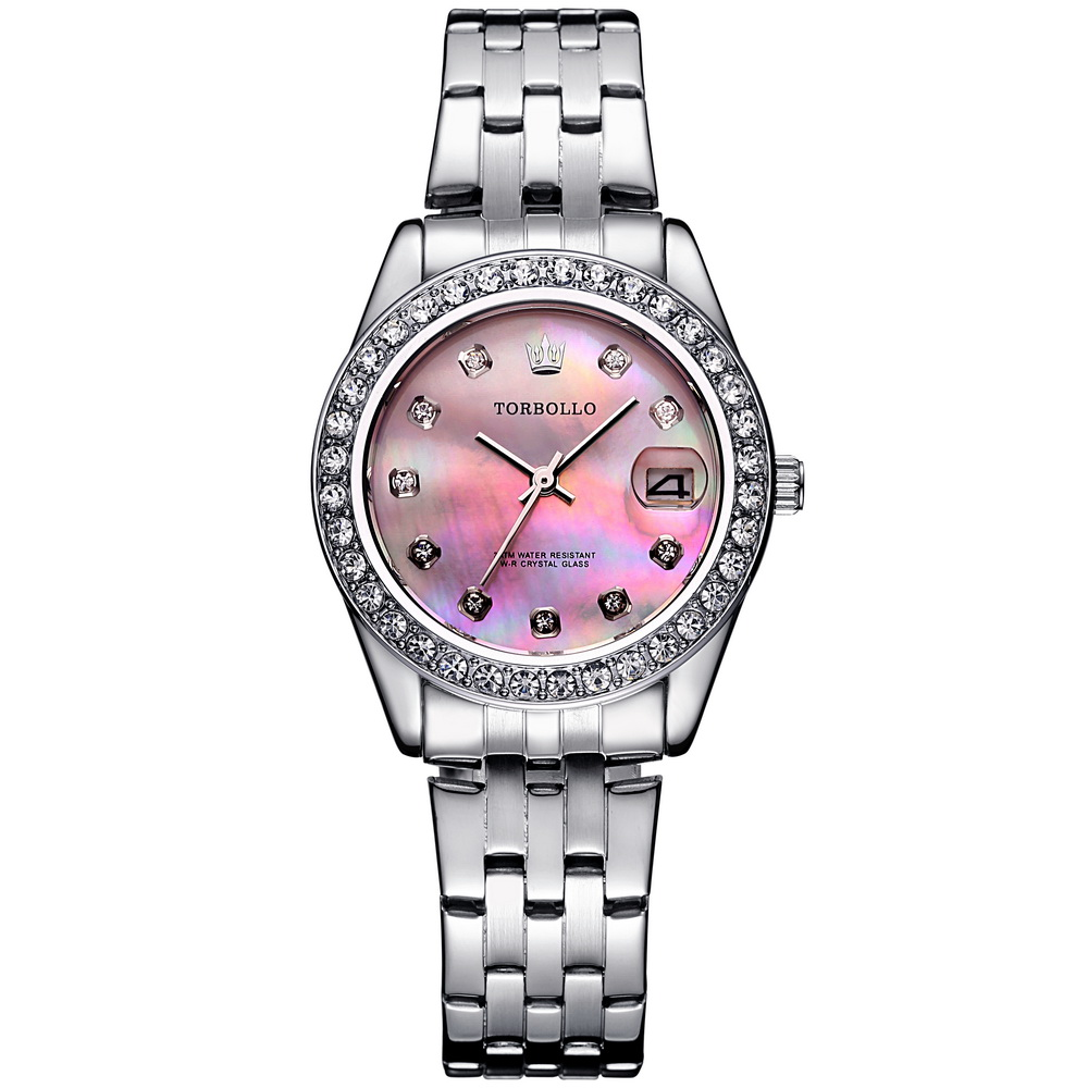 2017 Top Brand Women Wrist Watches MIYOTA Movt Silver Pink Luxury Geneva Ceramic Dial Quartz Clock with Box Water Resistant geneva cool dial three movt men quartz watch