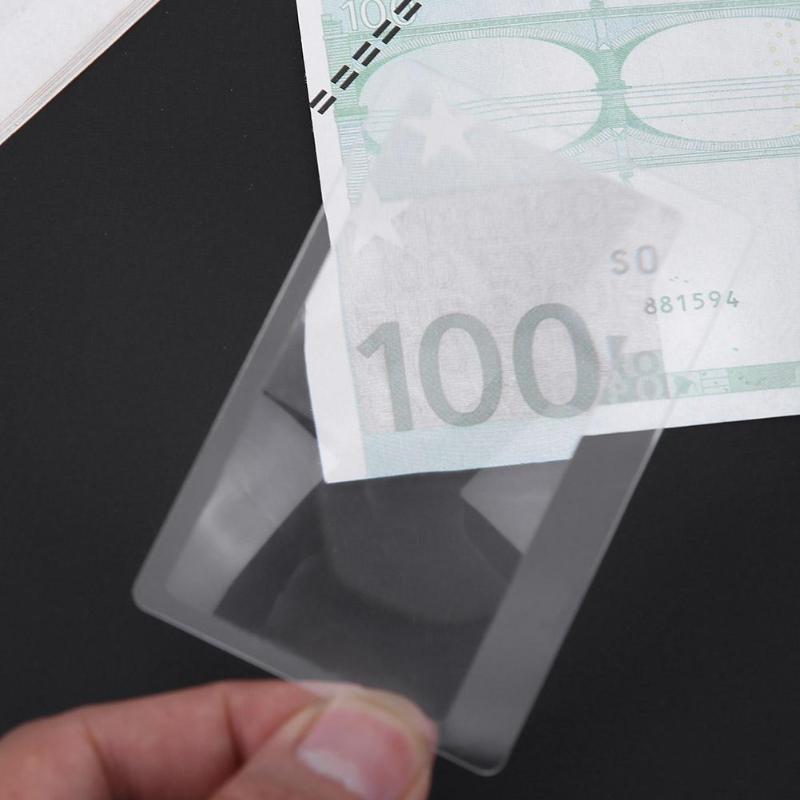 5PCS Transparent Credit Card Size 3X Magnifier Magnification Magnifying Fresnel Lens 8X5.5CM For Reading Newspaper doumoo 330 330 mm long focal length 2000 mm fresnel lens for solar energy collection plastic optical fresnel lens pmma material