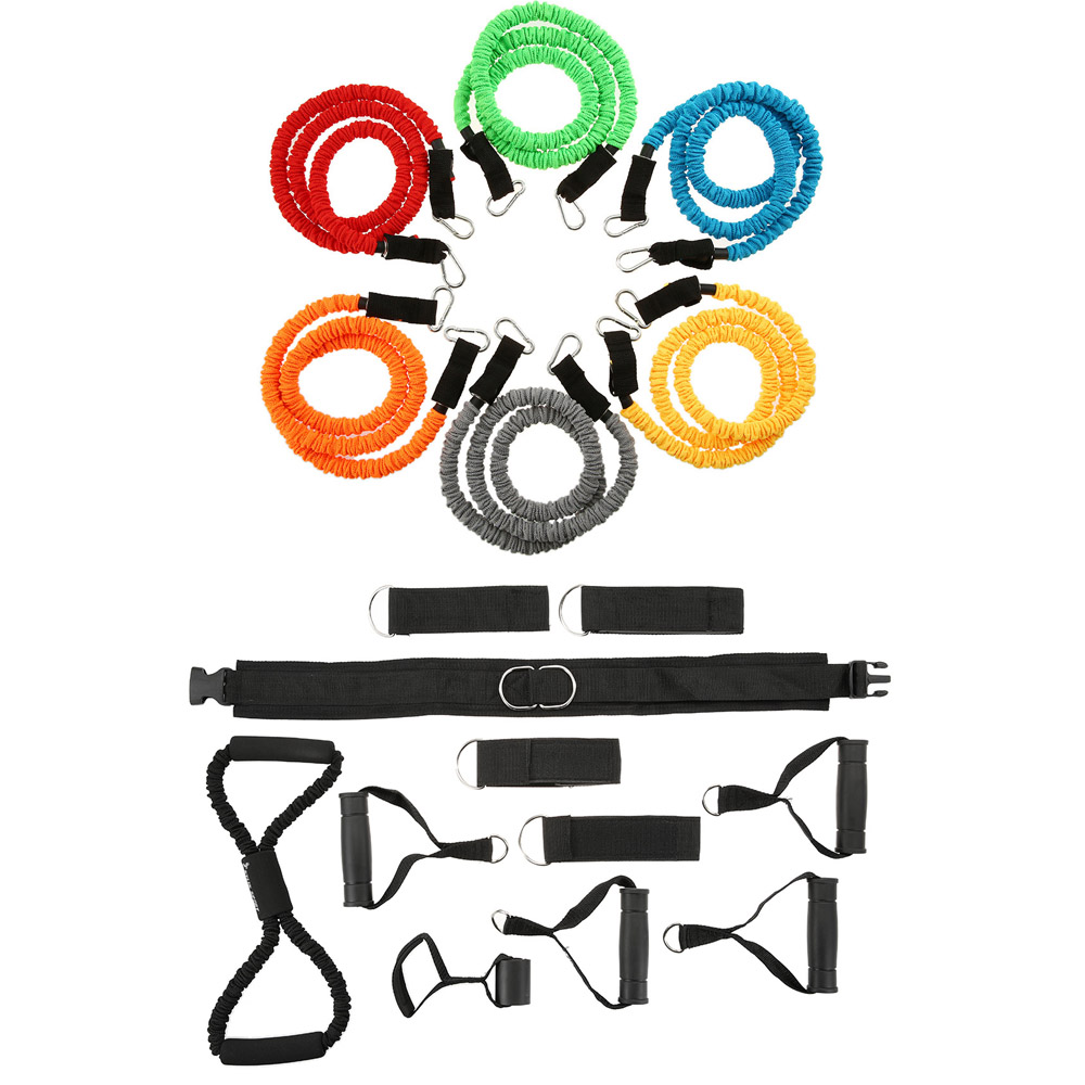 18 PCS Resistance Band Set Exercise Grip Door Anchor Ankle Strap Chest Expander Fitness Tubes Gym Strength Training Rubber Bands