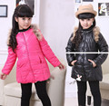 Free shipping- New winter girl cotton-padded clothes girls pure color long coat girl outerwear