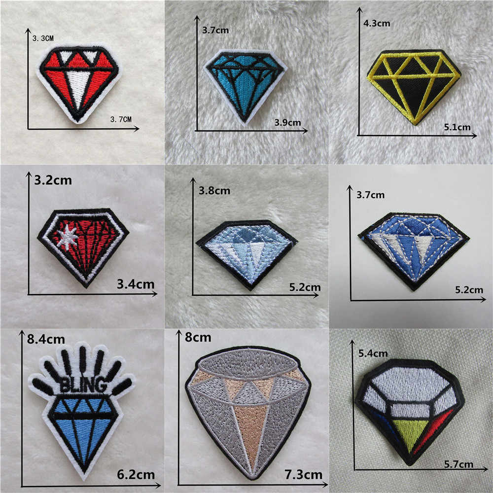 High quality Mix Style Diamond Stripes Patches Embroidery Iron On Patch Clothes Accessories Applique thermo-stickers for clothes