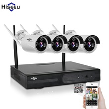 Hiseeu Plug and Play 4CH 1080P HD Wireless NVR Kit P2P 720P waterproof Outdoor IR Security IP Camera WIFI home CCTV System set