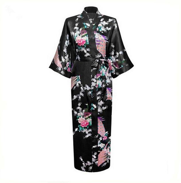 Hot Sale Preto Femmes Vestes Vestido Kimono Yukata Mulheres Chinesas Seda Rayon Flor Lingerie Sexy Sleepwear Plus Size XXXL NR027