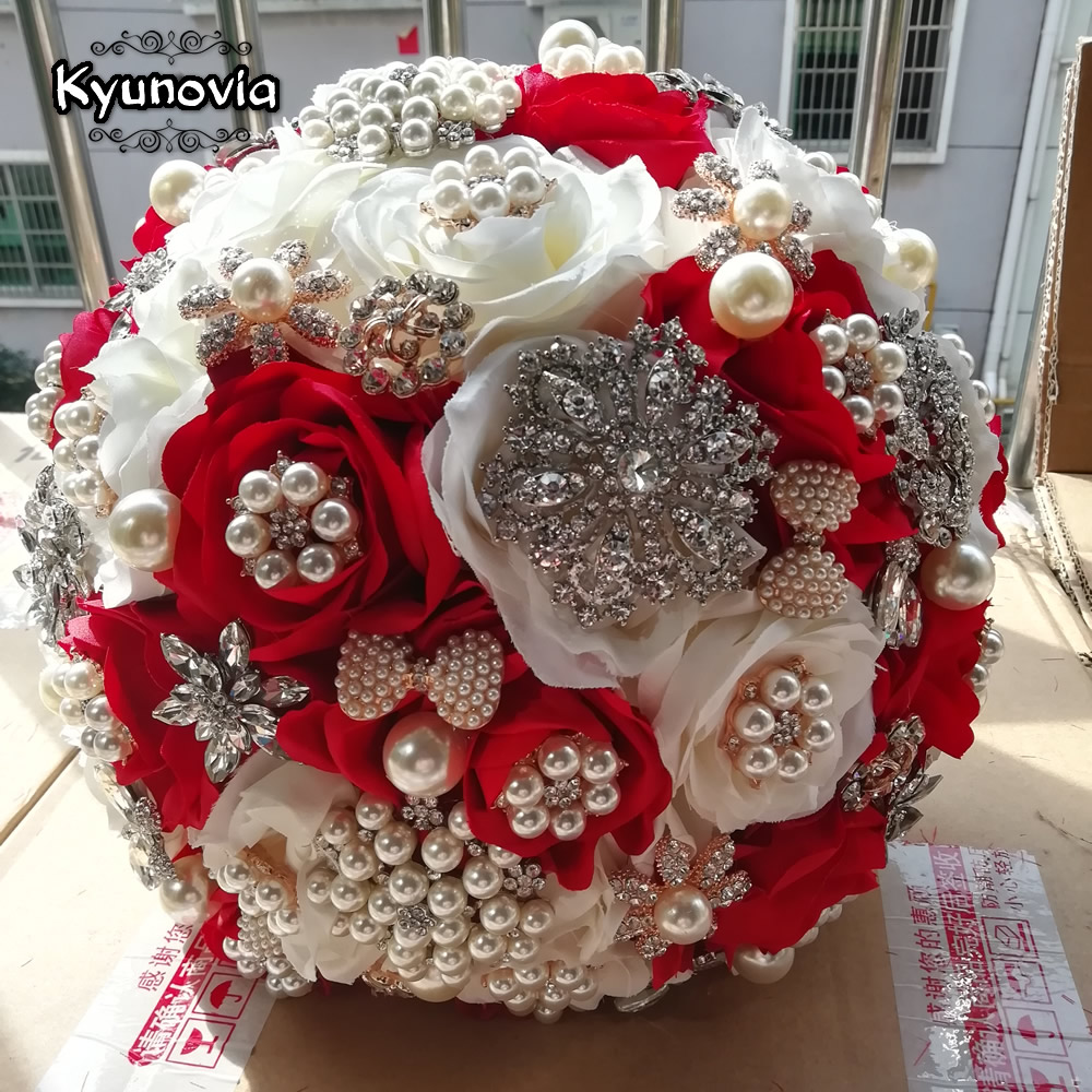 Aliexpress Buy Kyunovia Round Ivory Red Wedding Bouquet Silk