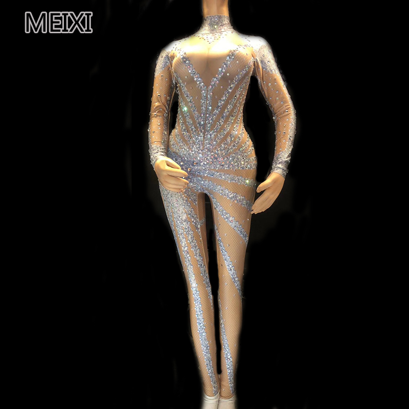 Shining Sexy Silver Glass Diamond Rhinestone Club Concert Singer Dancer Costume