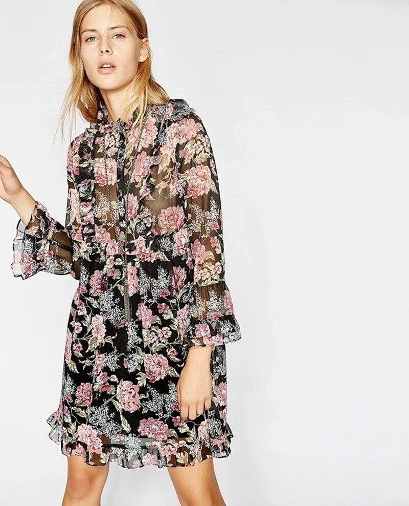 2019 New Women Flower Print Dress Long Flare Sleeve Ruffle Chiffon Loose Dress