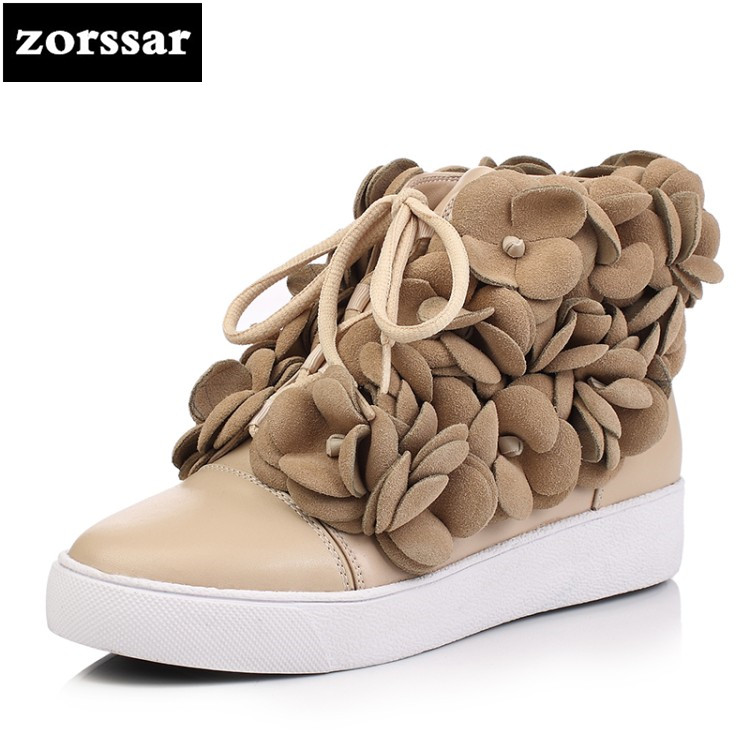 {Zorssar} winter boots women flat ankle boots Big Size 2018 New Fashion Flowers Genuine Leather snow boots botas mujer invierno{Zorssar} winter boots women flat ankle boots Big Size 2018 New Fashion Flowers Genuine Leather snow boots botas mujer invierno