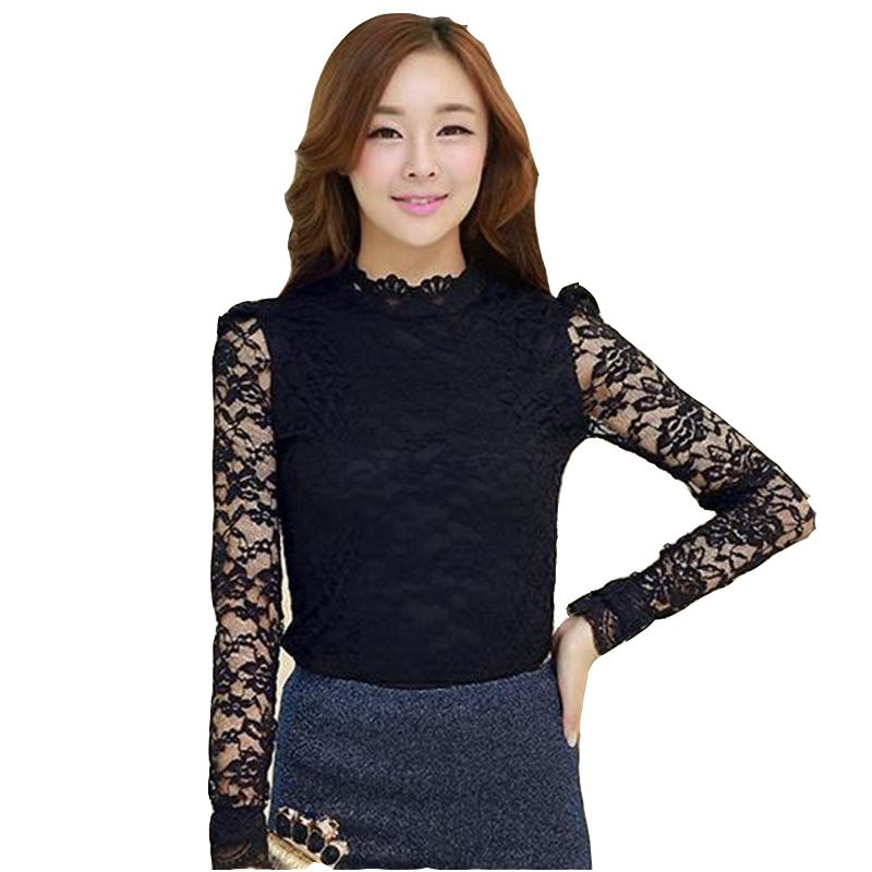 Women Hollow Floral Lace Long Sleeve Blouse Plus Size Solid Color Loose Top Amid
