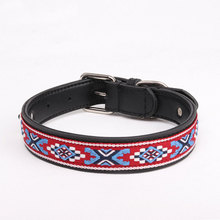 Leather Pet Dog Collar Puppy Neck Strap Adjustable Tie China Style Ribbon Leash Accessories