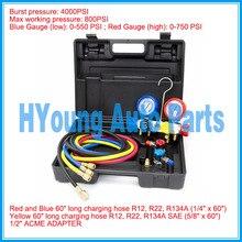 Auto AC ar Conjunto de Manómetros R22 R134a R404A R410A r134 com Mangueiras e Adaptadores de Engate