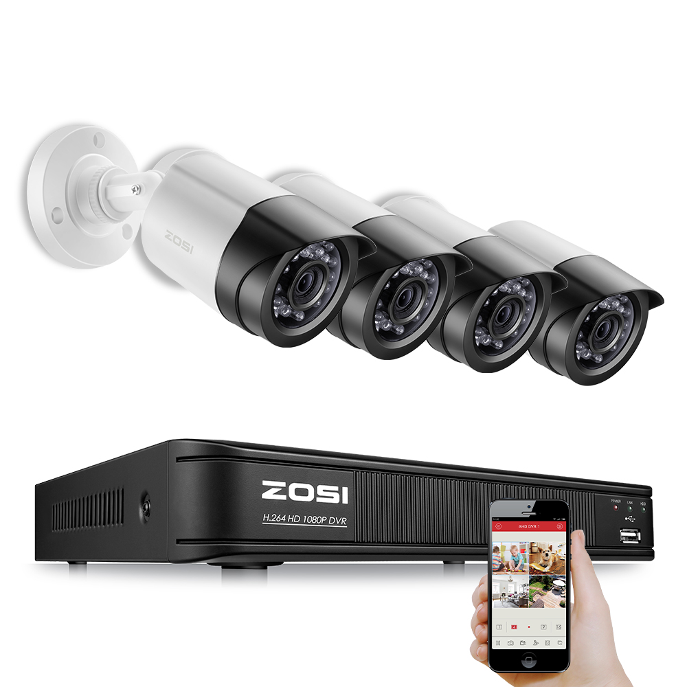 ZOSI 4CH Cctv systeem 1080P TVI Recorder 1080p 2MP IR Nightvision View Bullet Camera Video Kabel DVR Kit geen HDD Schijf-in Bewakingssysteem van Veiligheid en bescherming op AliExpress - 11.11_Dubbel 11Vrijgezellendag 1