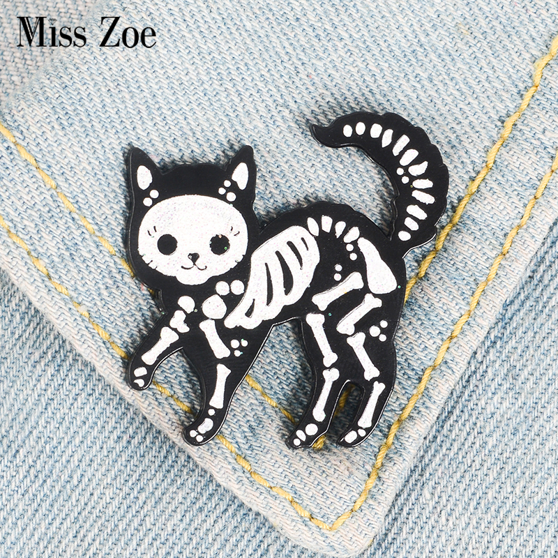 Cat Skeleton Enamel Pin Punk Glitter Dark Cat Badge Brooch Bag Clothes Lapel Pin Funny Animal Jewelry Gift For Friends