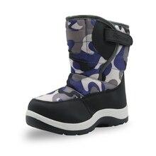 Apakowa/Детские теплые плюшевые зимние ботинки для маленьких мальчиков; водонепроницаемые камуфляжные ботинки до середины икры для альпинизма
