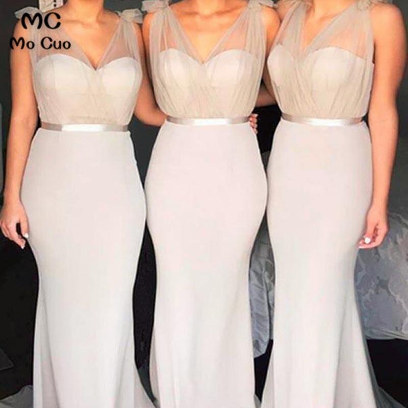 2019 New Mermaid   Bridesmaid     Dress   with Belt Wedding Party   Dress   V-Neck Elastic Satin Women   Bridesmaid     Dresses