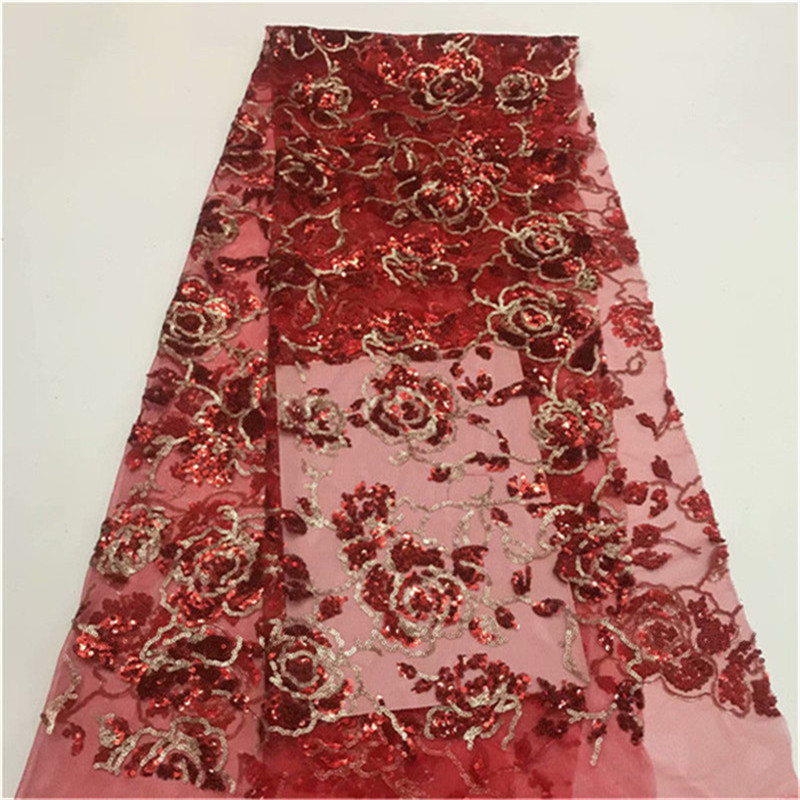 New Fashion red Gold Sequins Mesh Net Lace Fabric African Swiss Voile Prom Evening Dress Lace
