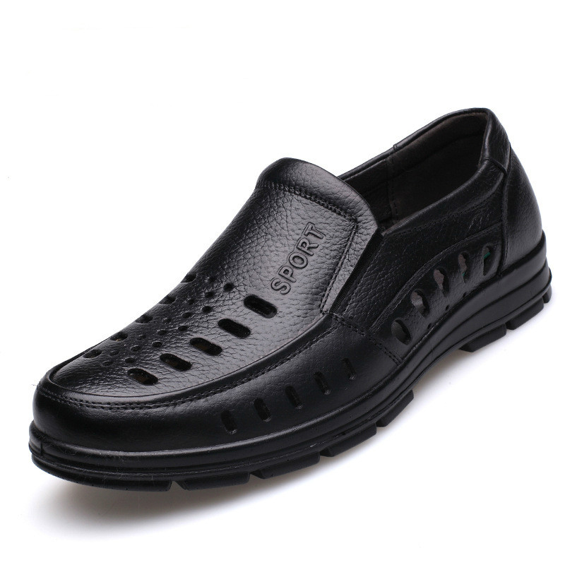 2018 Genuine Leather Casual Shoes Men Round Toe Business Footwear Male Breathable Hollow Out Oxford Shoes