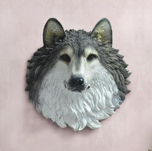 Le loup loup totem décoratif résine Club tatouage doux décoration tenture murale ameublement maison des animaux escultura statue