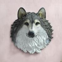 The wolf wolf totem decorative resin Club tattoo soft decoration wall hanging Home Furnishing animal house escultura statue