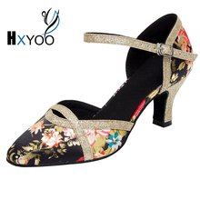 HXYOO 2018 In stock Women Ballroom Shoes Salsa Latin Dance Shoes Ladies Pointed Toe Satin Soft Sole Flower Black & Gold WK008
