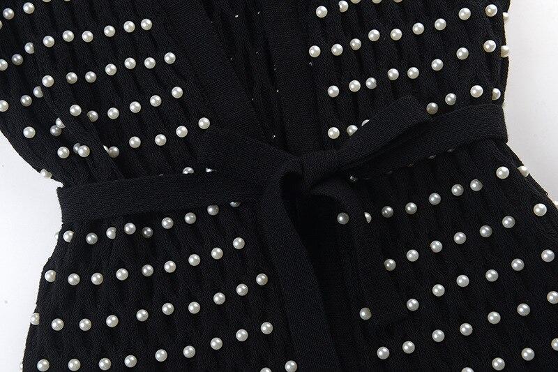Élégant Cardigans Couture Cravate Automne Haute Nouveau Profonde Hiver Noir Perles Pleine 2018 Manches V Veste Tricoté Femme De Outwear OHOn4PqUI