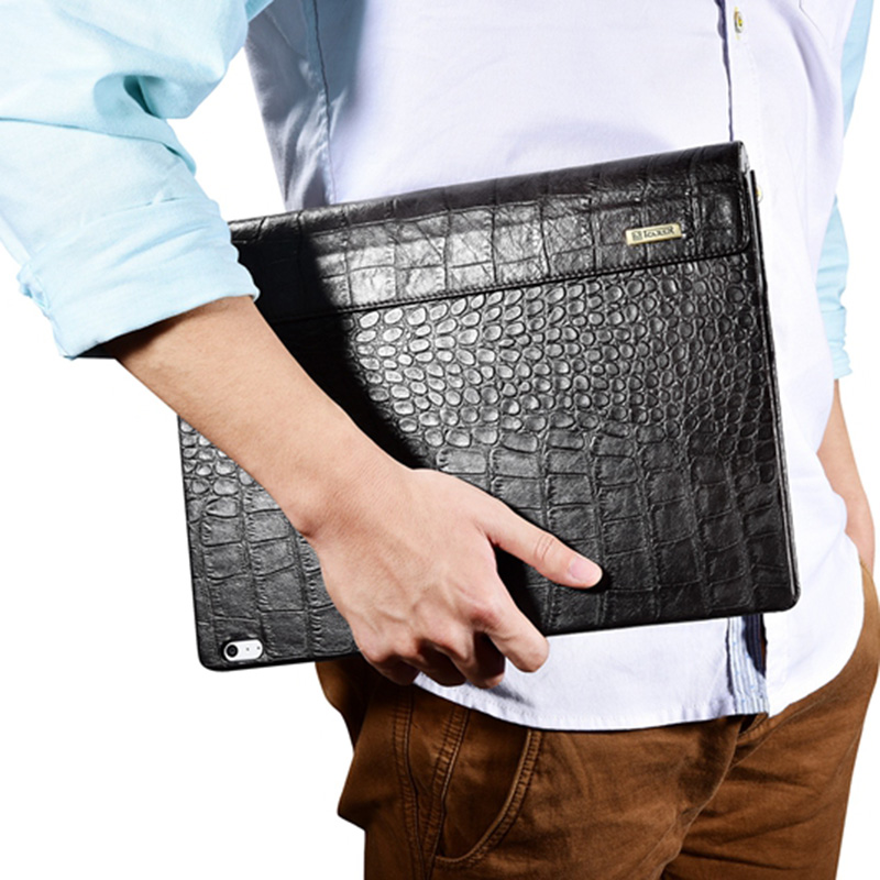 For Microsoft Surface Book Sleeve Bag Embossed Crocodile Genuine Leather Detachable Flip Case For Surface Book Black Cover Skin for microsoft surface book 13 5 sleeve bag embossed crocodile genuine leather detachable flip case black skin for surface book