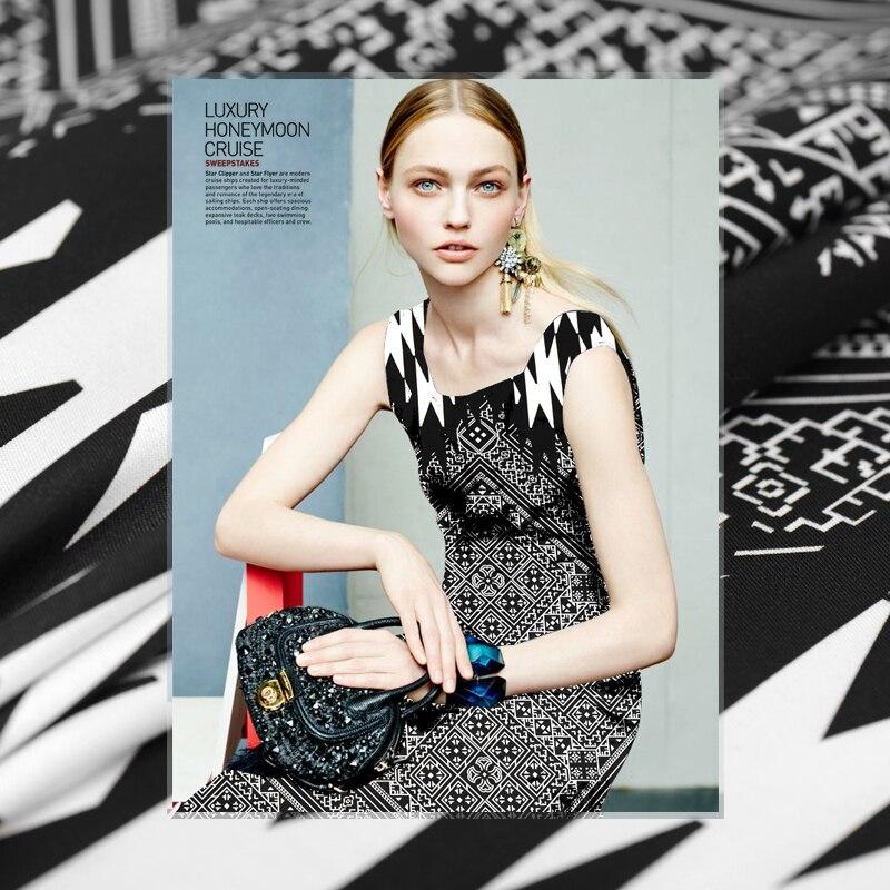 Limited hot sale fashion geometric Import silk natural wool twill fabric for dress shirt bony tissu au meter bright cloth DIY